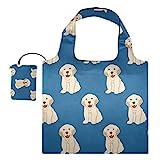 Bolsas reutilizables para la compra – Labrador Golden Retriever perro plegable grande Rip Stop bolsas de tela de reciclaje con bolsa