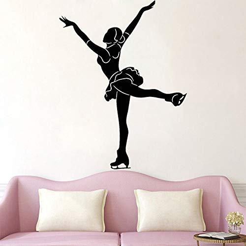 wZUN Patinaje artístico Pegatinas de Pared Deportes de Baile de Hielo calcomanías de Vinilo decoración de la habitación de Las niñas decoración del hogar extraíble 33X43 cm