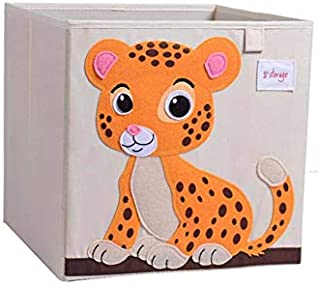 Vmotor Foldable Animal Canvas Storage Toy Box/Bin/Cube/Chest/Basket/Organizer for Kids, 13 inch(Tiger)