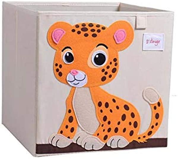 Vmotor 可折叠动物帆布收纳玩具盒箱子立方体胸部篮子组织者儿童 13 英寸老虎