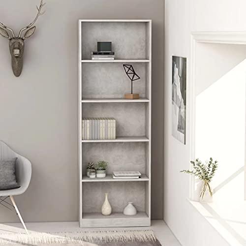 vidaXL Libreria a 5 Ripiani Grigio Cemento 60x24x175 cm in Truciolato