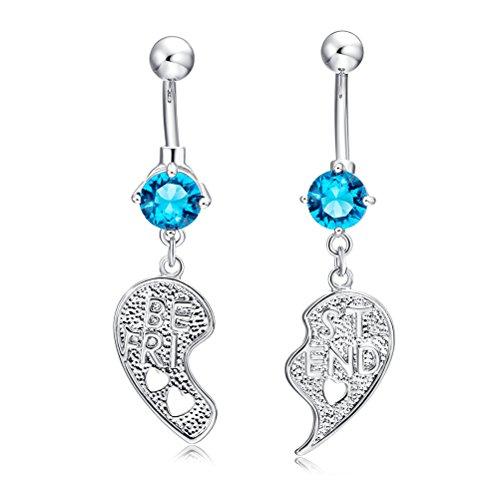 OULII 2 stks Beste Vriend Buik Knop Ring Crystal Diamond Navel Piercing Studs Sieraden voor Body Decoratie