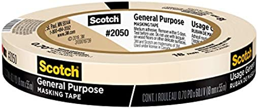 Scotch General Purpose Masking Tape, 0.70 inches by 60 yards, 2050, 1 roll