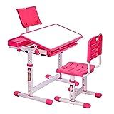 CosHall Kinderschreibtisch Höhenverstellbar, Kindertisch mit Stuhl, Neigungsverstellbare Tischplatte zum Schutz der Augen (Rosa)