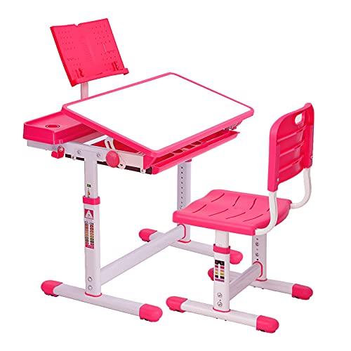 CosHall Escritorio infantil regulable en altura, mesa infantil con silla, tablero de inclinación ajustable para proteger los ojos (rosa)