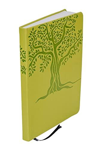 Taccuino A5 BioLine con copertina rigida in guscio di mela e pelle PU con albero goffrato, formato A5, pagine a righe in carta riciclata con segnalibro e nastro elastico, fatto a mano in Italia