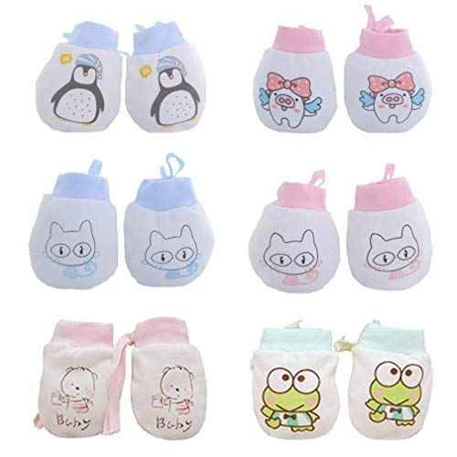 Adeimoo Cute Boys Girls Cotton No Scratch Gloves Drawstring Adjustable Mittens for Baby Infants (6 Pack Animal Mittens)