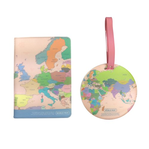 Travel World Map Passport Cover + Luggage Nametag, Combo Travel Set (Colorful)