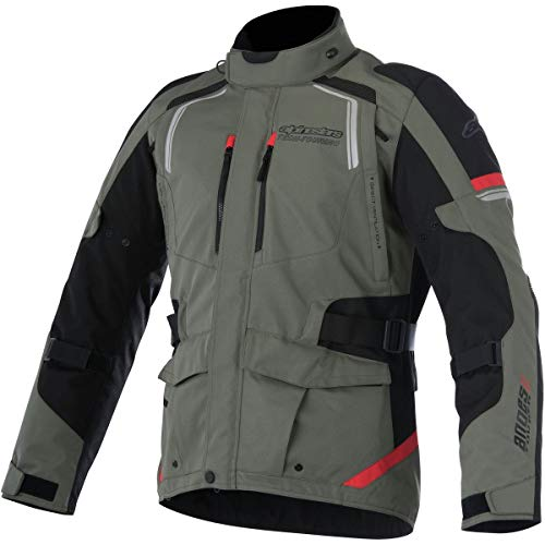 Alpinestars - Motorradjacken Andes V2 Drystar Grün Militaire Schwarz Rot - XL