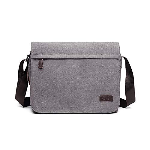 Kono Umhängetasche Leinwand Schultertasche Groß Messenger Bag 13 Zoll Segeltuch Tasche für Arbeit Uni (Grau)