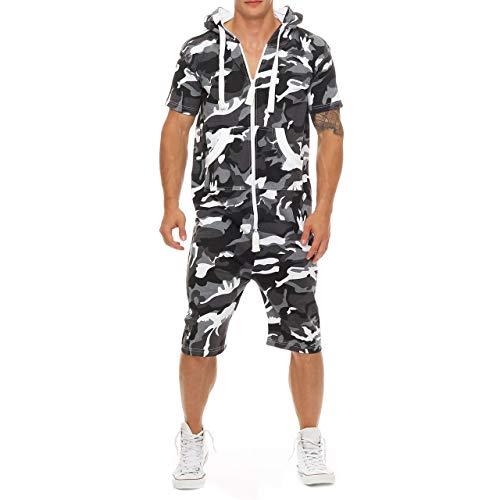 Eghunooye Herren Sommer Jumpsuit kurz Anzug Overall Sport Jogging Training Anzug Onepiece Jumpsuit mit Reißverschluss (Camouflage, XXXL)