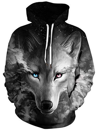ALISISTER 3D Hoodies Kapuzenpullover Männer Jungen Coole Galaxis Wolf Bedruckt Pullover Sweatshirt Herbst Winter Beiläufig Langarm Kapuzenpulli mit Fleece-Futter M