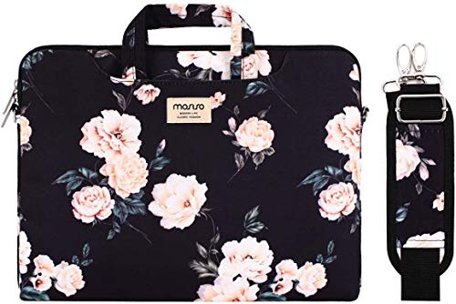 MOSISO Laptop Shoulder Bag Compatible with MacBook Air 13 inch M1 A2337 A2179 A1932, MacBook Pro A2338 A2289 A2251 A2159 A1989 A1706 A1708, Camellia Carrying Briefcase Sleeve with Trolley Belt, Black