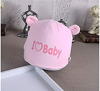 Baby Decoration Hat Baby Ear Heart Autumn Warm Fetal Cap Newborn Hat Infant Hedging Cap for 0-3 Months(Pink) Cute Cap (Color : Pink, Size : Head Circumference)
