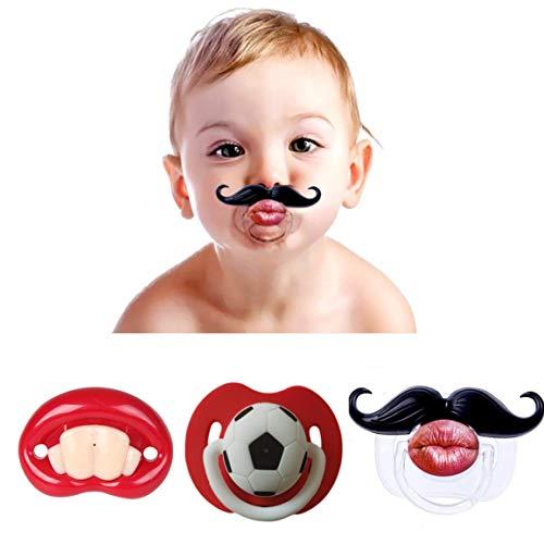 Dummy Schnuller für Baby,3er Pack Silikon Komisch Prank Schnuller Dummy Beruhigungssauger Lustig Schnuller für Klein Kinder Babys Kleinkin Neugeborene 0-3 Jahre