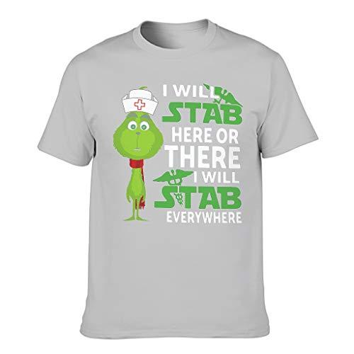 I Will stab Hier oder da Print Men's T-Shirt Short Sleeve Cotton Adult Sweat Shirt - Grey - XXXXXXL