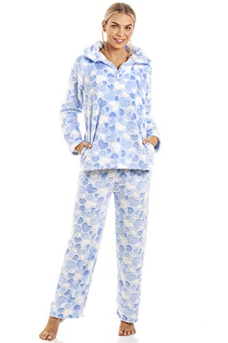 CAMILLE - Set di pigiami in Pile morbido a Maniche lunghe a Maniche lunghe per Donna 42/44 L Blue