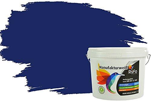 RyFo Colors Bunte Wandfarbe Manufakturweiß Tiefseeblau 3l - weitere Blau Farbtöne und Größen erhältlich, Deckkraft Klasse 1, Nassabrieb Klasse 1