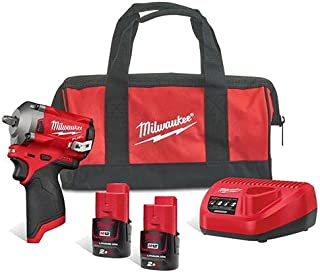 """Milwaukee M12FIW38-202B 3/8"""" Impact Wrench with 2 Batteries"""