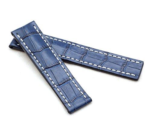 BOB Herren Faltschließband Marino Alligator kompatibel Breitling 22 mm Ozean blau