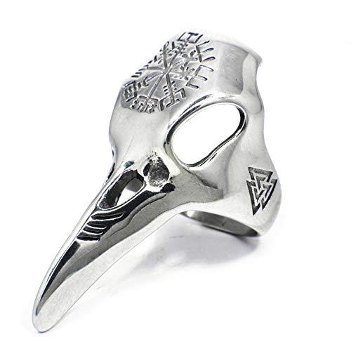 Gungneer - Anillo de acero inoxidable con brújula escandinava, diseño de cuervo vikingo para hombres y mujeres