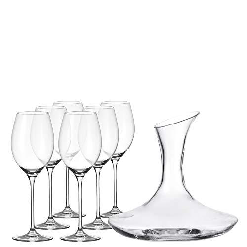 Leonardo Dekanter und Rotweingläser Cheers, Dekantierer und Weingläser im modernen Design, Karaffe und Gläser im Set, 7-teilig, 032817