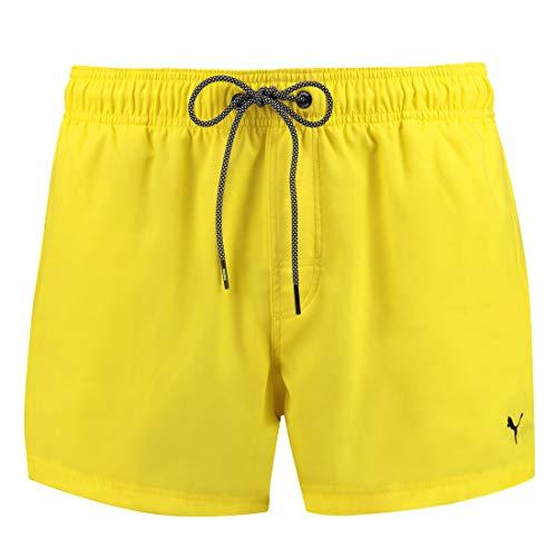 PUMA Herren Badehose Badeshorts Logo Short Length Swim Shorts, Bekleidungsgröße:M, Farbe:Yellow