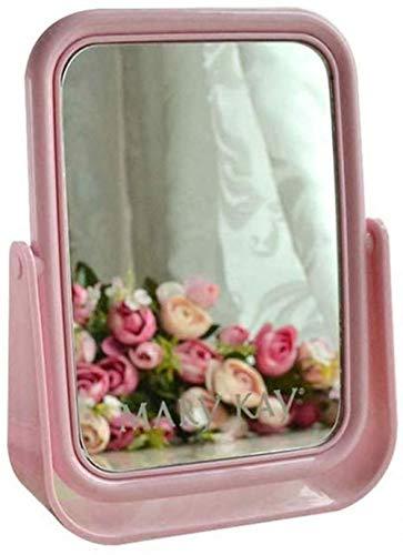 Miroir Délicat Corps grossissant Double Face Bureau rectangulaire dans Une Petite Fille Douce avec Augmentation Rose et Le Chiffre d'affaires Lumineux (Color : Pink)