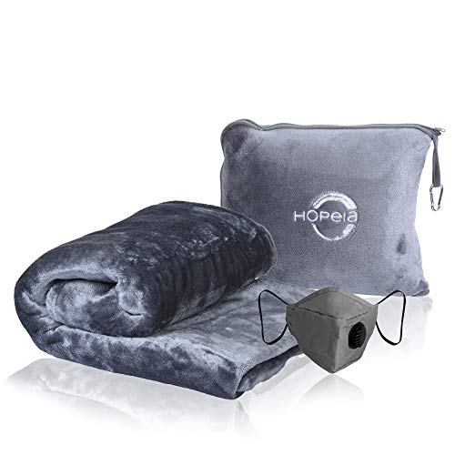 HOPEIA Pillow Blanket 2 in 1 | Blanket Flight Pillow, Luggage Belt and Backpack Clip | Car, Train & Airplane Travel Essentials | Travel Blanket Airplane