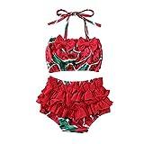MAHUAOYIXI Bambine Due Pezzi Costume da Bagno a Volant con Motivo di Anguria o Ananas Abito da Nuoto Balletto Ragazza Mare (Rosso, 2-3anni)