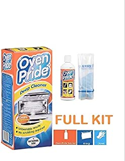 Oven Pride 500ml complete kit with SAFETY Gloves and SMART bag for Rack + Grill Easy cleaning Degreases oven without need for scrubbing, oven pride complete oven cleaning kit