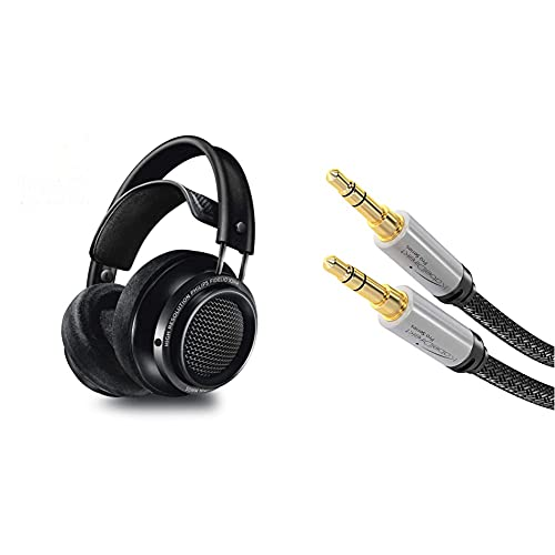 Philips Fidelio X2HR/00 Over-Ear Headphones, High-Resolution Headphones (Noise Cancelling, 50-mm Neodymium Driver, High Res Audio, Deluxe Memory Foam Ear Pads, Cable Clip) Black