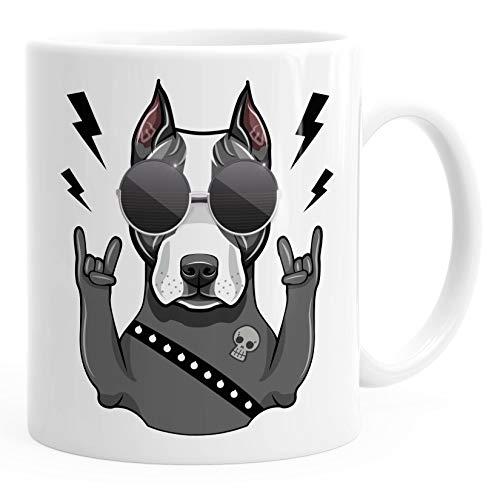 MoonWorks® Kaffee-Tasse mit Motiv Hund Heavy Metal Comicstil Metalhand Bürotasse lustige Kaffeebecher weiß Keramik-Tasse