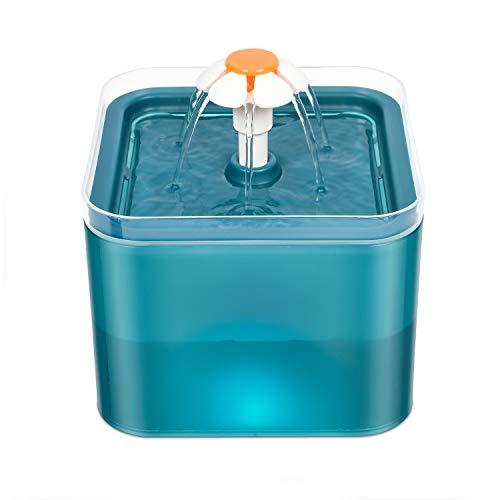 WOSHUAI Circulación Automática, Bebedero para Gatos De 2 litros con Nivel De Agua Visible, Iluminación Silenciosa Y LED, Bebedero para Gatos con Filtro De Carbón Activado,American Standard Plug