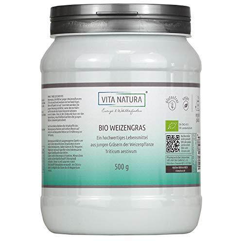 Vita Natura Weizengras-Pulver Bio, aus Deutschland, umweltfreundliche Verpackung, 1er Pack (1 x 500 g)