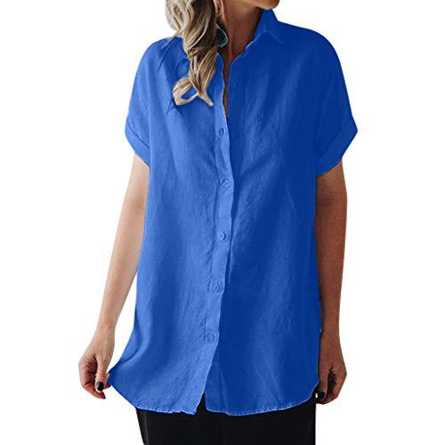 MIRRAY Damen Casual Revers Neck T-Shirt Damen Kurzarm Schnalle Bluse Tops