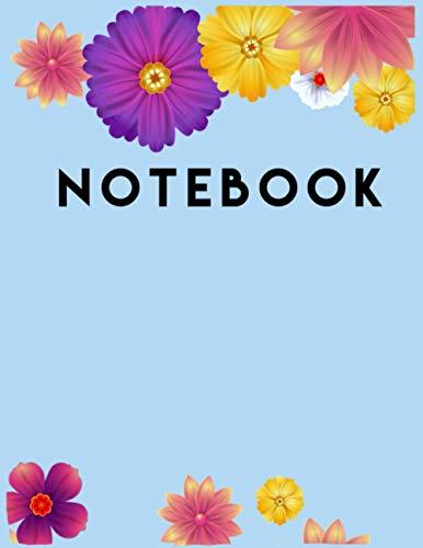 CUADERNO & NOOTEBOOK- FUNDA FLORES AMARILLO Y MORADO: Cuaderno Clásico con Hojas de Rayas, páginas,diaro