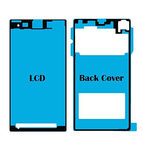MMOBIEL Set 2 Adhesivos Pegatina Compatible con Sony Xperia Z1 Compakt Mini para Pantalla Delantera y Tapa de la Bateria
