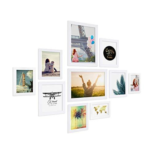 PHOTOLINI 10er Bilderrahmen-Collage Basic Collection, Modern, Weiss, aus MDF, inklusive Zubehör/Foto-Collage/Bildergalerie/Bilderrahmen-Set