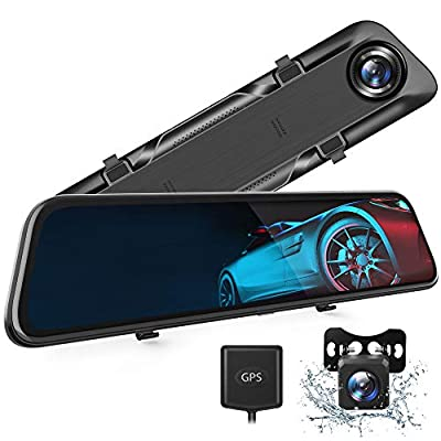 VanTop H612T 12? 4K Mirror Dash Cam for Cars, Voice Control Full Touch Screen Rear View Mirror Camera, GPS Tracking, Waterproof Backup Camera 2.5K Max, 8MP Sony Sensor for Super Night Vision