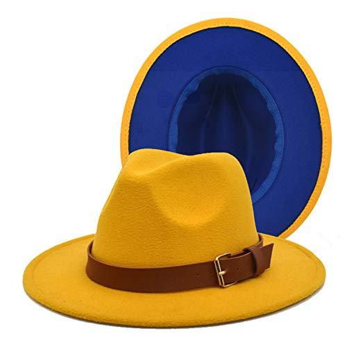 WGG Cappello Fedora da Donna in Feltro di Lana Patchwork da Donna con Cinturino in Pelle Casual Cappellino da Uomo A Tesa Larga Cappelli di Lana Bicolore Uomo (Color : Yellow+Blue, Taglia : 56-58cm)