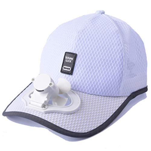MYBOON Gorra de béisbol de Malla con protección Solar de Verano para Adultos con Mini Ventilador de refrigeración Recargable USB, Gorra de béisbol, Color Blanco