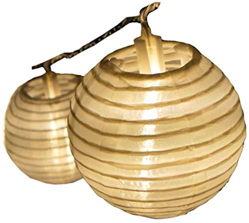 Lampion Lichterkette mit 15 LED-Lampions weiss Ø 15 cm Garten außen von Gartenpirat