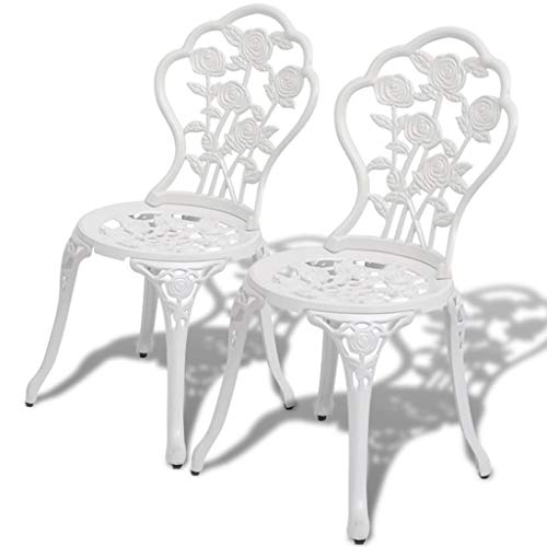 Tidyard Bistro Chairs 2 pcs Outdoor Garden Patio Furniture Floral Designed Metal White