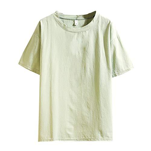 Realde Herren T-Shirt Männer Einfarbig Rundhals Ausschnitt Slim Fit Moderner Baumwolle und Leinen Kurzarm Top Sommer Shirt Bluse für Sport Jogging Gym Fitness Oberteile