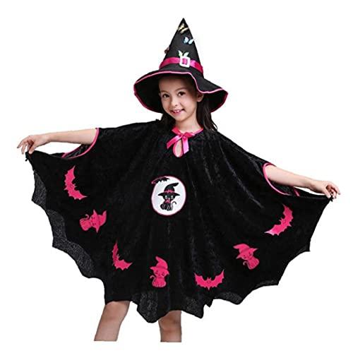 Hainice Disfraz de bruja de Halloween para nias, ropa de fiesta con sombrero, juego de rol, juego de vestir para Halloween, 100 cm, 1 juego