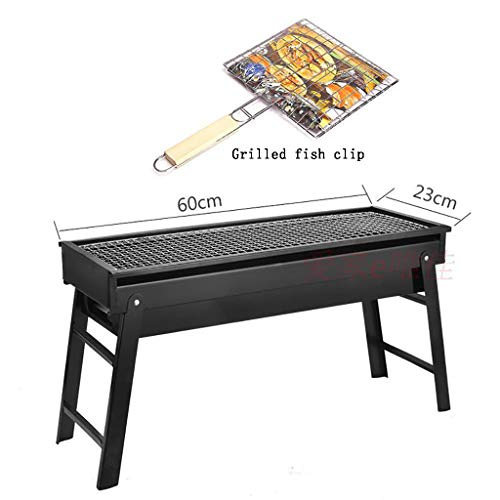 DZLXY BBQ Grill, Draagbare Barbecue Opvouwbare Grill voor 3-5 personen, Groot formaat (60 * 23 * 33 Cm) Kolen Bbq voor Tafel Camping Outdoor Grill BBQ Utensil