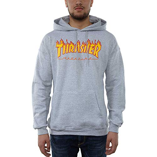 THRASHER Flame Logo Camiseta, Unisex Adulto, Grey, S