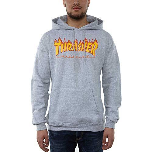 THRASHER Flame Logo Camiseta, Unisex Adulto, Grey, M