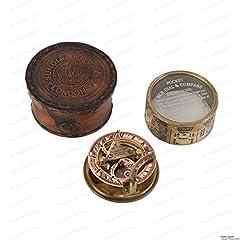 US HANDICRAFTS Vintage Compass Navigational Instrument - Marine Sundial Compass With Leather Case & Calendar…. #1